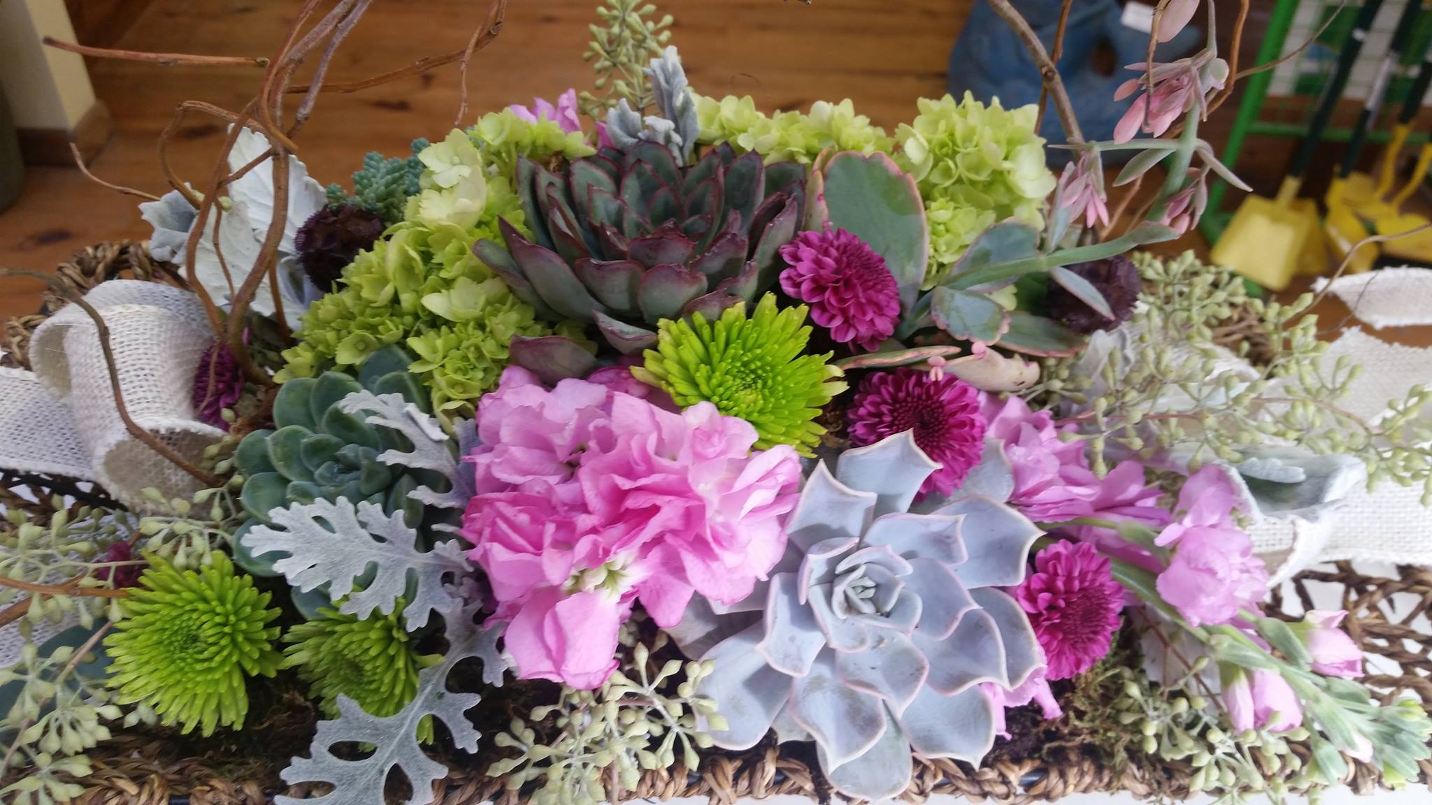 succulent and cut flowers